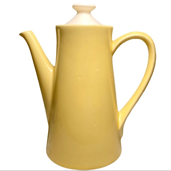 VTG Coffee Pot Lemon Yellow Ceramic Tall